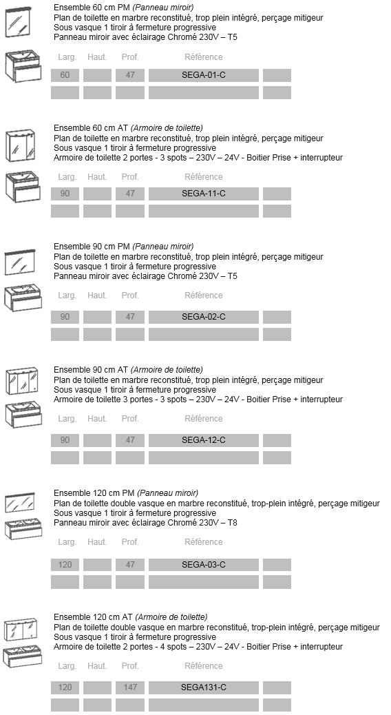 Catalogue des salles de bain Segato