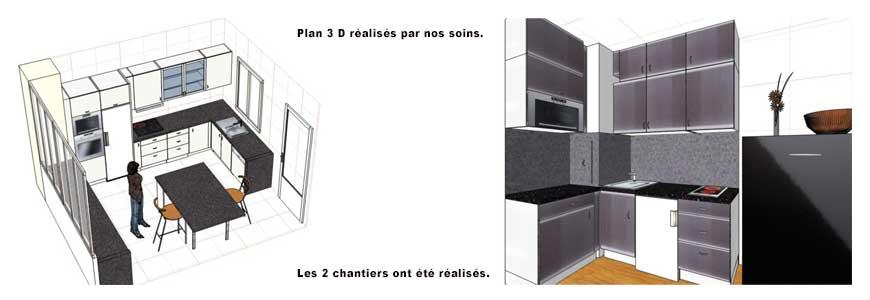 Plans 3D pour la rénovation de salle de bains ou de cuisines